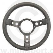 Classic Mini steering wheel 320mm - Black Leather & Black Spokes by Mountney