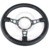 """13"""" Dished Black Leather Steering Wheel with Polished Spokes"""