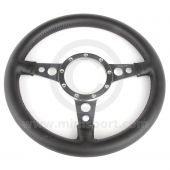 """13"""" Flat Black Leather Steering Wheel with Polished Spokes"""