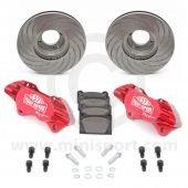 "Paddy Hopkirk 8.4"" Vented 4 pot Alloy Caliper Brake Conversion Road Kit - Red"