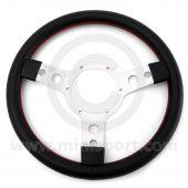 "STW33SPVBR 13"" diameter black vinyl sport steering wheel, perfect for your Mini."