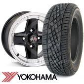 "WTP7X13KIT9 7"" x 13"" black Revolution modular alloy wheel and Yokohama A539 tyre package"