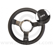 Classic Mini Traditional 300mm - Black Leather & Black Spokes by Mountney