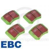 """EBCDP2102 A set of EBC Greenstuff performance front brake pads for Mini Cooper S and early 1275GT models fitted with 10"""" wheels. (GBD103)"""