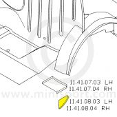 MCR11.41.08.03 LH filler segment for the rear wheel arch closing panel, inside the rear companion box.