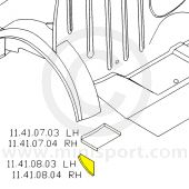 MCR11.41.08.04 RH filler segment for the rear wheel arch closing panel, inside the rear companion box.