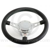 Paddy Hopkirk Classic Mini Black Steering Wheel - With Horn - Green Stitching