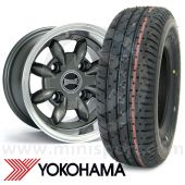 """6"""" x 10"""" anthracite Ultralite alloy wheel and Yokohama A008 tyre package"""