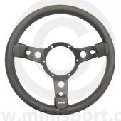 Classic Mini steering wheel by Mountney in Black Vinyl & Black Spokes