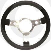 "Sport Steering Wheel - 14"" - Black Vinyl with Red Stitching"