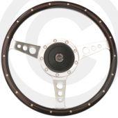 "Spring Alex 13"" Walnut steering wheel with rivets"