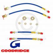 Goodridge Brake Hose - Stainless Aeroquip - Blue - full set of 4