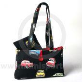 HERMINIHBBLK/ZIP Mini Cotton Black Zip Up Handbag and purse combo with Classic Mini design