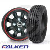 """WTP5.5X12KIT8 5.5"""" x 12"""" black/red pinstripe Ultralite alloy wheel and Falken ZE912 tyre package"""