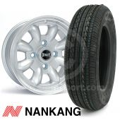 """5"""" x 12"""" silver Ultralite alloy wheel and Nankang tyre package"""