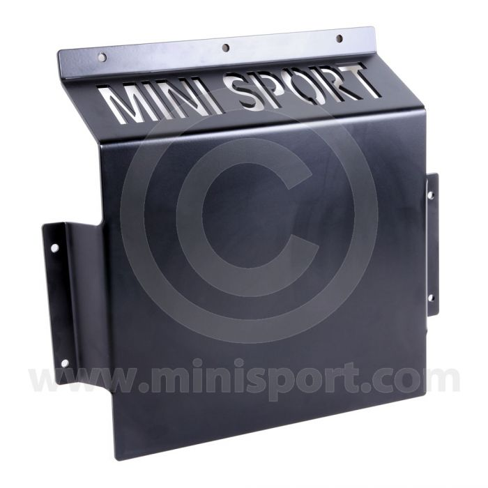 MORMS0369 Hardened steel Mini sump guard to protect the gearbox, exhaust and gear linkage on the road or competition use.  Manufactured by Mini Sport.