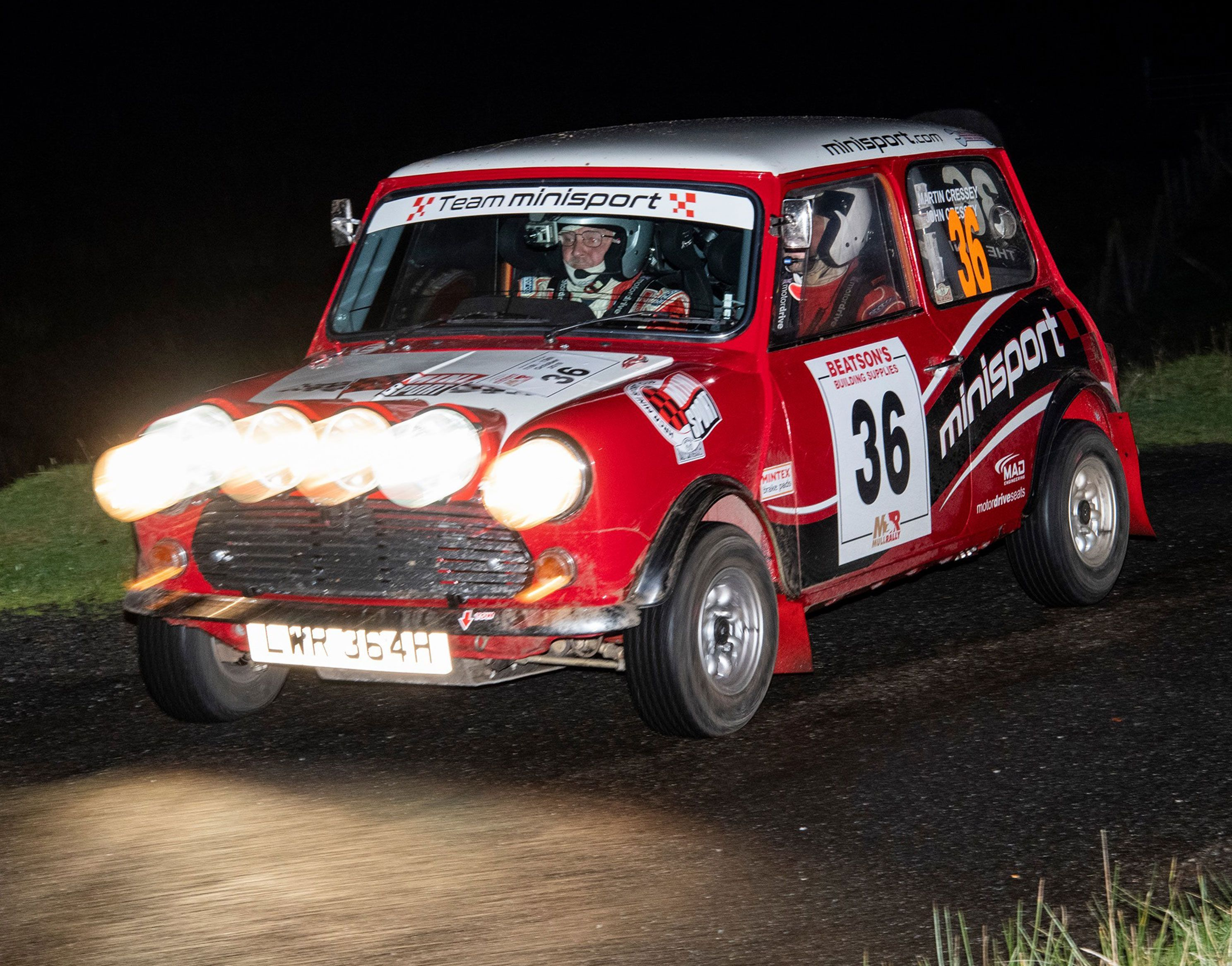 One of Team Mini Sport's Rally Minis competing on Mull Rally 2019