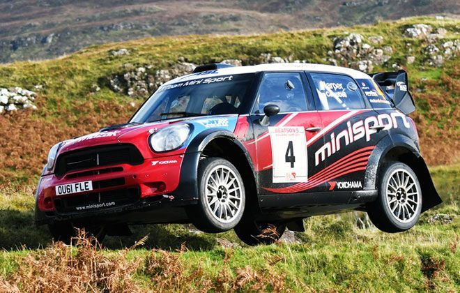 Team Mini Sport's JCW MINI WRC in action at Mull Rally 2019